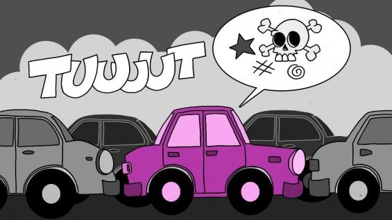 Illustration s'énerver dans les embouteillages